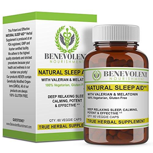 Natural Sleep Aid - True Herbal Supplement With Organic Valerian Root & Melatonin - Potent & Effective Non Habit Forming - 100{0ad59209ba3ce7f48e71d4a0dc628eee9b107ea7079661ded2b3bda89b047a8b} Vegetarian & Gluten Free Formula