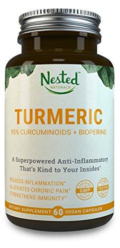 TURMERIC CURCUMIN | Turmeric Extract 1000mg + Black Pepper 10mg | Natural Anti-Inflammatory Pain Relief Supplement | High Absorption, Boost Immunity & Gut Health, Reduce Inflammation | Vegan Capsules