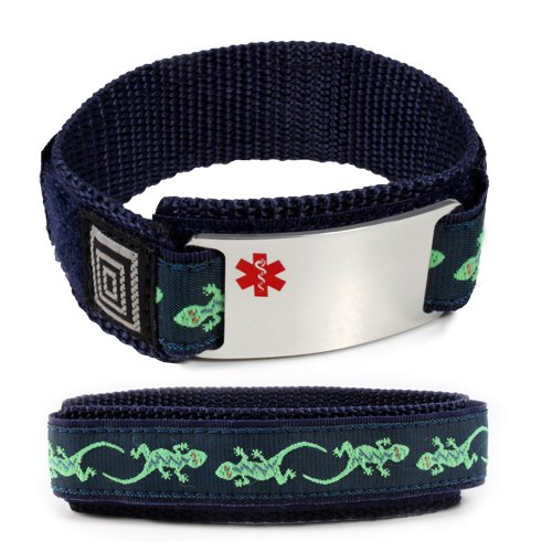 KIDNEY DISEASE Medical ID Alert Bracelet with Lizard Velcro wrist band.