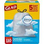 Glad OdorShield Tall Kitchen Drawstring Trash Bags – Febreze Fresh Clean – 13 Gallon – 110 Count