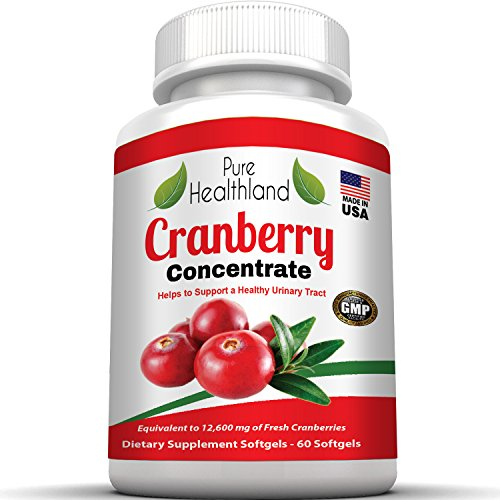 Cranberry Concentrate Supplements for Urinary Tract Infection UTI. 12600 mg Pure Fresh Cranberries! Promote Kidney Urinary or Bladder Health for Men and Women. No More Cranberry Juice! (Softgel)