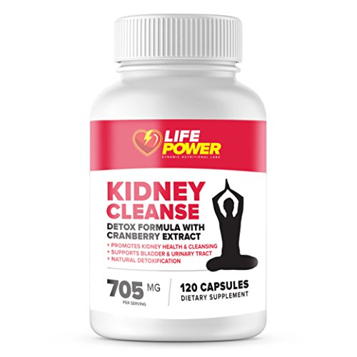 Natural Kidney Cleanse Supplement - Detox and Support Formula with Cranberry Extract - Promotes Kidney Health, Cleansing, Support Bladder and Urinary Tract by Life Power Labs - 120 Vegetarian Capsules