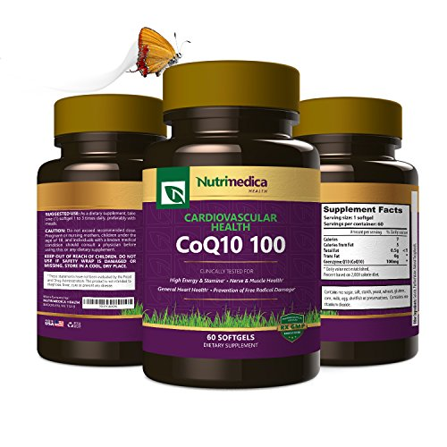 CoQ10 Supplement for Cardiovascular Heart Health Support, Helps Boost Energy & Improve Digestion - All Natural Vitamin - 100mg Softgels - 60 Pack - by Nutrimedica