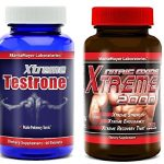 Xtreme Testrone Male Enhancement Testosterone Booster & Xtreme 2000 Nitric Oxide Booster L Arginine Improve Strength Recovery Muscle Growth