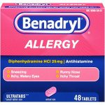 Benadryl Ultratab Antihistamine Allergy Medicine Tablets, 48 Count