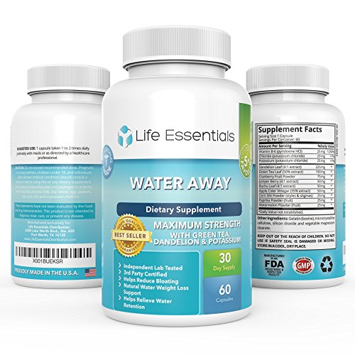 Water Away Maximum Strength Natural Diuretic by Life Essentials-Herbal Blend-Dandelion,Green Tea,Juniper Berry and more-for Men and Women- Made in the USA-60 Capsules-365 Day Money Back Guarantee