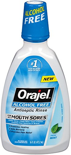 Orajel Alcohol-Free Antiseptic Mouth Sore Rinse, 16 Fluid Oz