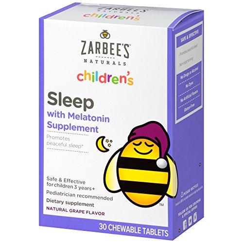 Zarbee's Naturals Children's Sleep with Melatonin Supplement, Chewable Tablets, Natural Grape Flavor, 30 Count