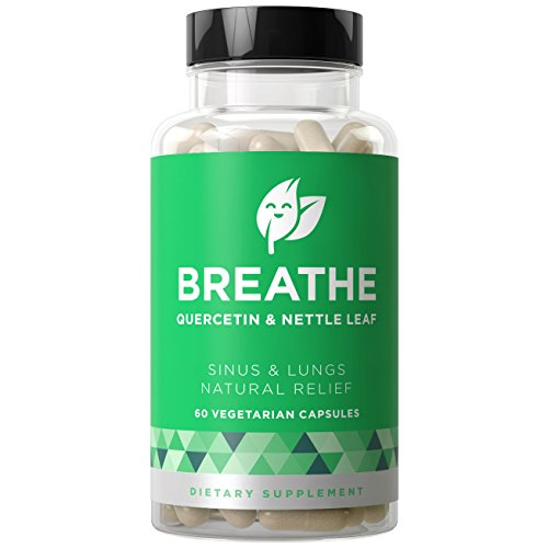 BREATHE Sinus & Lungs Respiratory Relief - Non-Drowsy Breathing Support - Allergies, Nasal Congestion, Severe Pain, Bronchial Inflammation - Quercetin & Nettle Leaf - 60 Vegetarian Soft Capsules