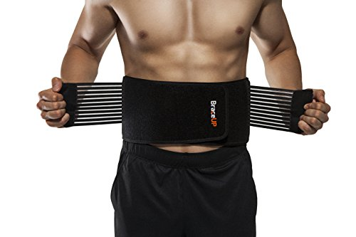 BraceUP® Stabilizing Lumbar Lower Back Brace and Support Belt with Dual Adjustable Straps and Breathable Mesh Panels (XXL)