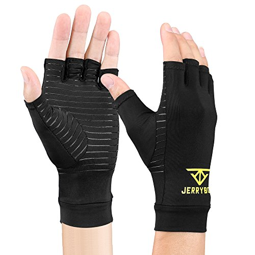 Jerrybox Arthritis Gloves Fingerless Copper Gloves Compression Medical Support Gloves (XL)