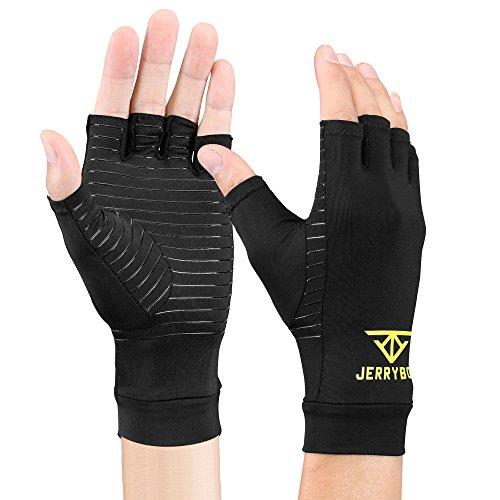 Jerrybox Arthritis Gloves Fingerless Copper Gloves Compression Medical Support Gloves (XL)