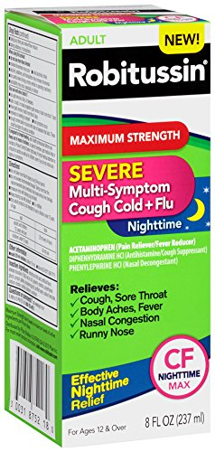 Robitussin Severe CF Maximum Strength Cough, Cold, & Flu Nighttime Medicine (8 fl. oz. Bottle)