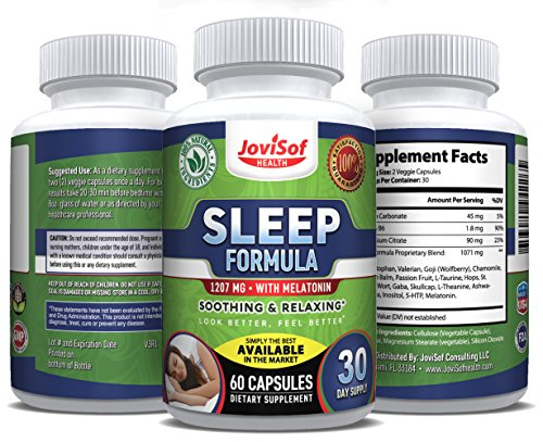 Premium Sleep Aid-Melatonin-5HTP-Ashwagandha-Magnesium-Chamomile, Valerian-Root Fall Asleep-Fast-Longer | All Natural Product | Wake Up Refreshed | Relax and Calm Supplement Pills | 60 Capsules