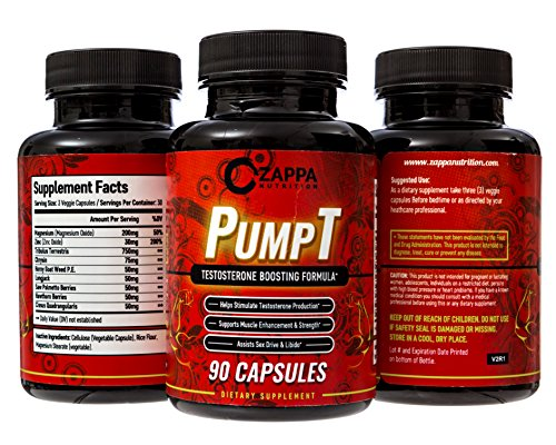 Zappa Nutrition PumpT - Testosterone Boosting Formula for Men, Sexual Health, Strength Muscle Enhancement, Weight Loss, Test Boost, Sexual Supplements, Pills, Tablets, Testo, Natural, Endurance, Fuel