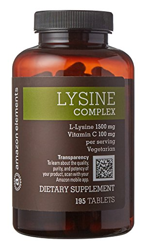Amazon Elements Lysine Complex 1500mg with Vitamin C, Vegetarian, 195 Tablets