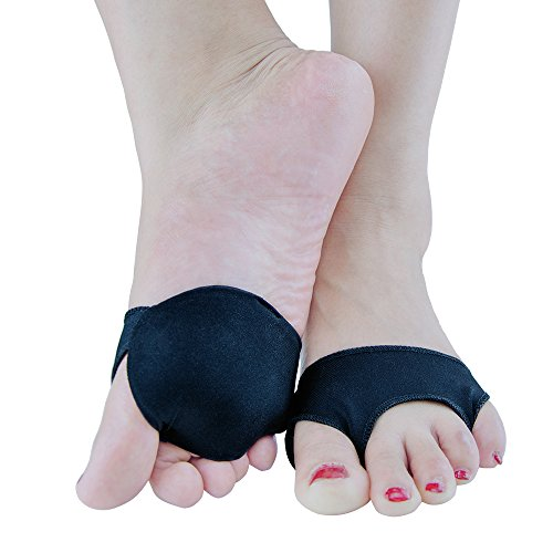 Metatarsal Foot Pads,Anti-Slip Ball of Foot Cushions Mortons Neuroma Relief,Forefoot Cushion Pain Relief for Mortons Neuroma 1 pair (L(black))