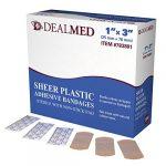 Dealmed Flexible Sheer Adhesive Bandages, 1″ x 3″, 100 Per Box (Pack of 2)