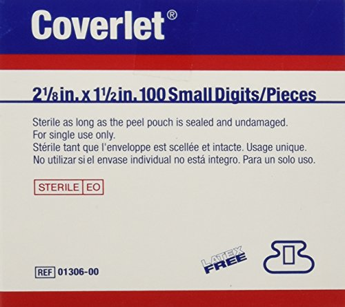 BSN Medical 01306 COVERLET Fabric Adhesive Bandage, Latex Free, Fingertip, Small (Pack of 100)