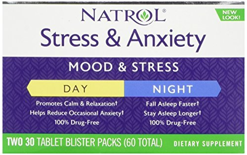 Natrol Stress and Anxiety - Day and Night Tablets, 60 Count