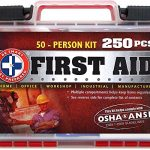 """Be Smart Get Prepared 250 Piece First Aid Kit, Exceeds OSHA ANSI Standards for 50 People – Office, Home, Car, School, Emergency, Survival, Camping, Hunting, and Sports """