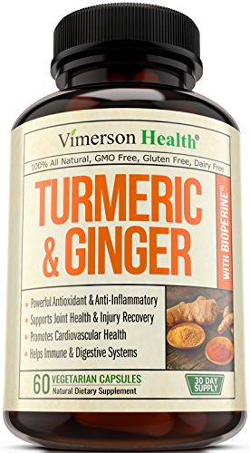 Turmeric Curcumin with Ginger & Bioperine - Best Vegan Joint Pain Relief, Anti-Inflammatory, Antioxidant & Anti-Aging Supplement with 10mg of Black Pepper for Better Absorption. 100% Natural Non-GMO