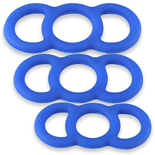Cock Rings LeLuv EYRO Slippery Blue Silicone Erectile Dysfunction .75 Inch Through 9 Inch Unstretched Diameter 3 Pack Sampler