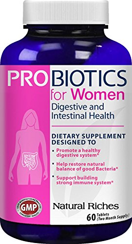 Probiotics for Women supplement from Natural Riches, 60 Tablets - Immune System Booster, Colon Health & Digestive Support, Replenishes Flora after Antibiotic Use