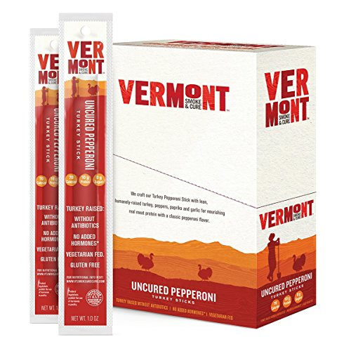 Vermont Smoke & Cure Meat Sticks, Turkey, Antibiotic Free, Gluten Free, Uncured Pepperoni, 1oz Stick, 24 Count