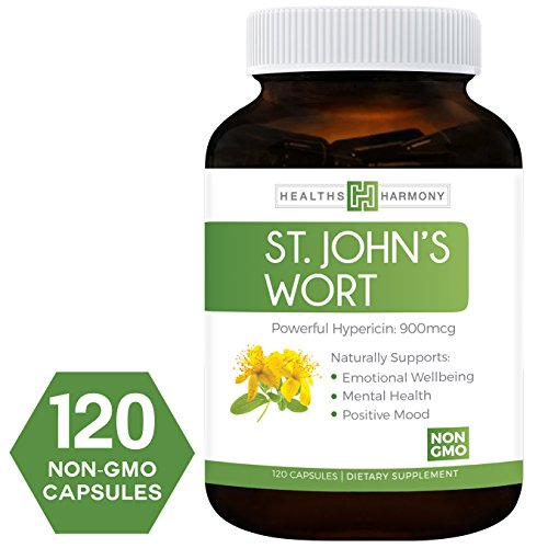 Best St. John's Wort 500mg 120 Capsules (NON-GMO) Powerful 900mcg Hypericin Saint Johns Wort Extract for Mood, Anxiety & Depression Support, Tincture & Mental Health - No Oil or Pills - Supplement