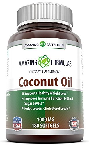 Amazing Nutrition Amazing Formulas Extra Virgin Coconut Oil Dietary Supplement - 1000mg - 180 Softgels - Weight Management & Immune System Support - Promotes Heart Health