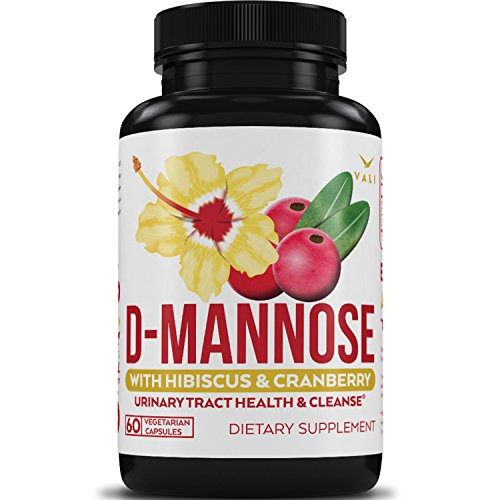 D Mannose Urinary Tract Infection Formula - Triple Strength with Organic Cranberry 50:1 Concentrate & Hibiscus for Healthy Bladder Function, Natural Yeast Cleanse, & UTI Support - 60 Veggie Capsules