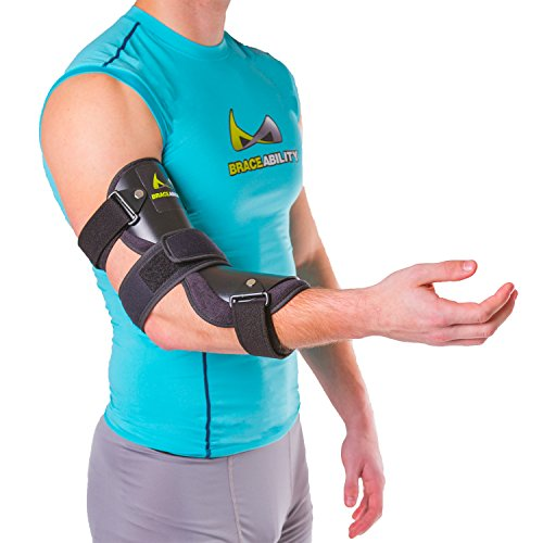 BraceAbility Cubital Tunnel Syndrome Elbow Brace | Splint to Treat Pain from Ulnar Nerve Entrapment, Hyperextended Elbow Prevention and Post Surgery Arm Immobilizer - L (LARGE / X-LARGE)