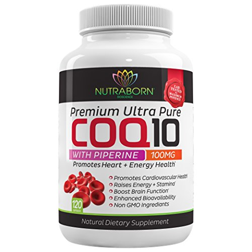 Pure CoQ10, HEART-GUARD Q10 Formula Provides The Highest Level of Cardiovascular Protection & Cellular Energy + Max Absorption Piperine: Purest Form of Black Pepper Extract, 100mg, 120 Softgels