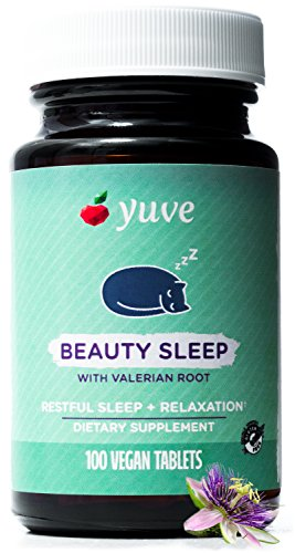 Yuve Natural Sleep Aid Supplement - Non-Habit Forming Vegan Sleeping Pills - Herbal Complex with Valerian Root, Magnesium, Passion Flower - Relax & Calm - Non-GMO, Gluten-Free - 100 Vegetarian Tablets