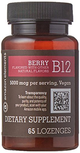 Amazon Elements Vitamin B12 Methylcobalamin 5000mcg, 65 Berry Flavored Lozenges