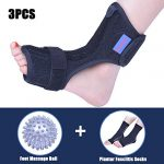Plantar Fasciitis Dorsal Night Splint for Heel Pain Relief -Foot Drop Orthotic Brace for Sleep Support with Plantar Fasciitis Socks & Hard Spiky Massage Ball Fits Left and Right Foot (L/XL)