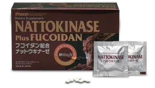 Umeken Nattokinase Plus Fucoidan- 2300FU Natto, 87mg of Fucoidan, Good for Blood Circulation, Cardiovascular Health. Packets, Ball Form. 1 month supply. Made in Japan.