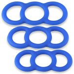 Cock Rings LeLuv EYRO Slippery Blue Silicone Erectile Dysfunction .8 Inch Through 1 Inch Unstretched Diameter 3 Pack Sampler