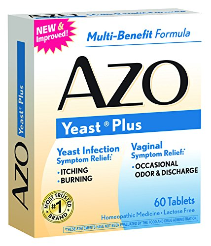 AZO Yeast Plus, Vaginal and Yeast Infection Symptom Relief, Multi-Benefit Dietary Supplement, 60 Count