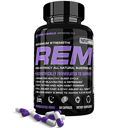 Sleep Aid by Life's Armour R.E.M| Extra Strength All Natural Sleep Aid & Sleeping Pills Supplement with Melatonin, Valerian, & 5-HTP, to Help Relieve Insomnia, Non Habit Forming