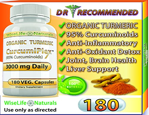 ORGANIC Tumeric Curcumin 3000 mg 180 Veg Capsules 95% Curcuminoids, Support Cardiovascular, Healthy Joints, Pain Supplement w Bioperine Piperine Black Pepper Extract Non Gmo Pills Advanced Absorption