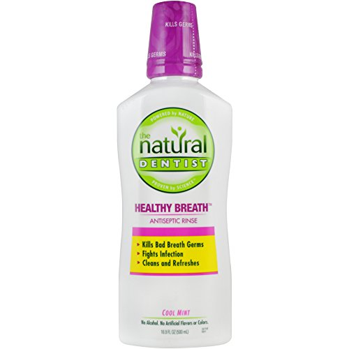 The Natural Dentist Healthy Breath Antiseptic Rinse Mouthwash, 16.9 Fluid Ounce Bottle, Cool Mint Flavored, Freshens Breath without Alcohol