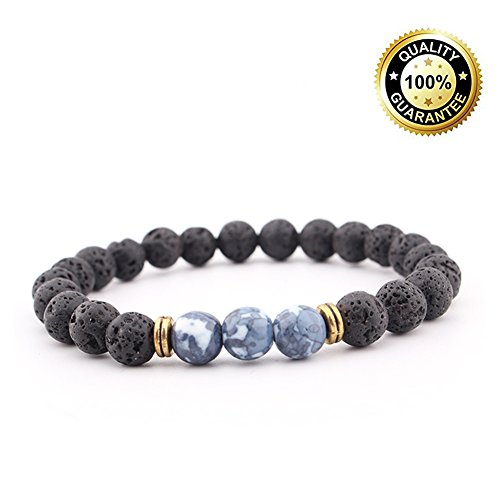 SULYSI Adjustable Natural Lava Stone Agate Bracelet Essential Oil Diffuser for Men Women,aromatherapy ideal for anti-stress or anti-anxiety