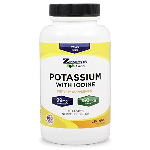 Potassium Gluconate with Iodine Kelp - 250 Tablets - 99mg Per Tablet with 150mcg of Iodine - Blood Pressure Support Supplement - Leg & Muscle Cramp Relief