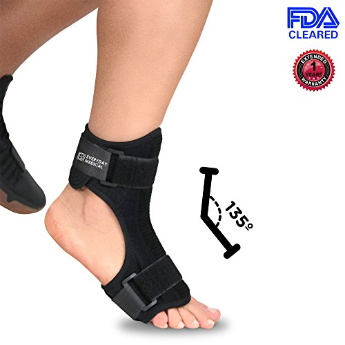 Everyday Medical Plantar Fasciitis Night Stretching Splint - Ergonomic Fit Plantar Fasciitis Arch Support With Bendable Rigid Metal At Instep - At Home Healing For Plantar Fasciitis, Arch Foot Pain