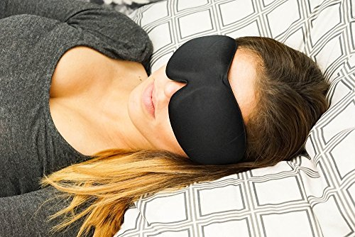 [TOP RATED] Sleep Mask with Earplugs PREMIUM Quality Contoured Eye Mask - Lightweight With Adjustable Strap - Blocks The Light Completely - Best For Travel, Insomnia or Quiet Night Sleep
