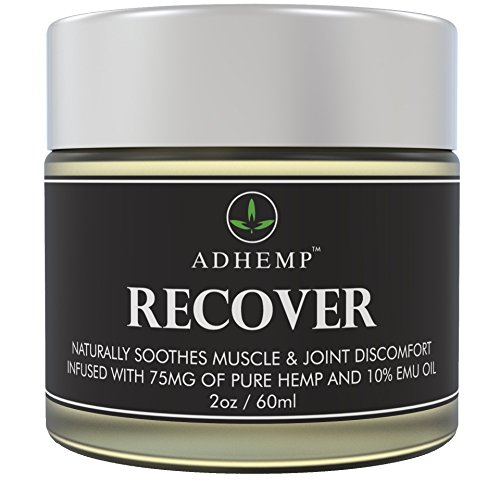 ADHEMP Recover Natural Hemp Oil Pain Relief Cream for Arthritis, Back, Knee, Hands, Neck, Feet, Muscle Soreness, Inflammation, Joints, Carpal Tunnel - 75 Mg of Pure Hemp, 10% Emu Oil, Aloe Vera - 2 Oz