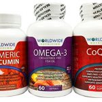 Worldwide Nutrition Seniors Heart, Brain And Joint Vitamin Kit, Turmeric Curcumin, CoQ10, Omega-3, 180 Capsules