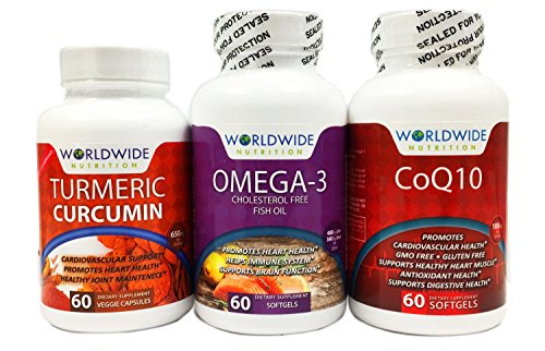Worldwide Nutrition Seniors Heart, Brain And Joint Vitamin Kit, Turmeric Curcumin, CoQ10, Omega-3, 180 Capsules
